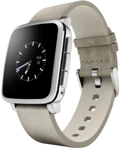 pebble rectangle shaped smartwatch