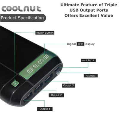 coolnut power bank with 3 usb ports