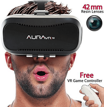AuraVR Pro vr headset with gaming remote