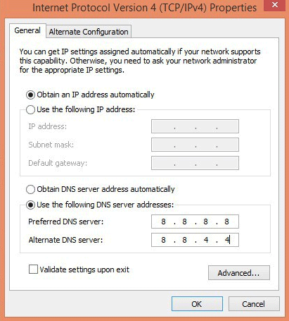 google dns settings