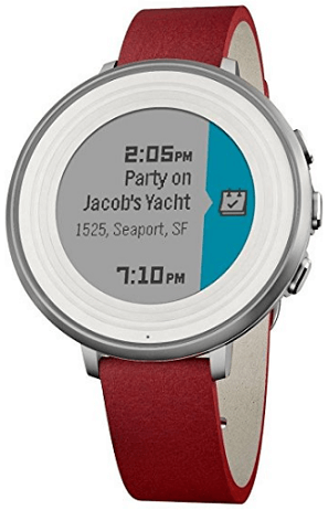 Pebble Smart Watch (Silver Case, Flame Red Band)