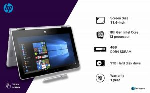 HP Pavilion x360 11-ad106tu 11.6-inch HD Touchscreen Convertible Laptop