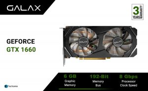 GALAX GeForce® GTX 1660 (1-Click OC) 6GB GDDR5 192-bit DP/HDMI/DVI-D Graphic Card