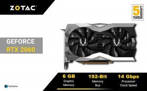 ZOTAC GeForce RTX 2060 Twin Fan 6GB GDDR6 192-bit Gaming Graphics Card