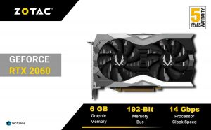 ZOTAC GeForce RTX 2060 Twin Fan 6GB GDDR6 192-bit Gaming Graphics Card