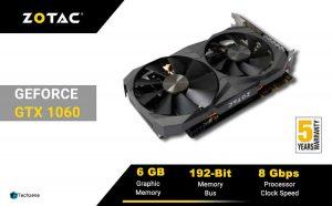 ZOTAC GeForce GTX 1060 DirectX 12 6GB 192-Bit GDDR5X Graphics Card