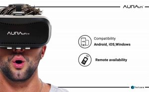AuraVR Pro Fully Adjustable VR Glasses Headset with Remote Controller