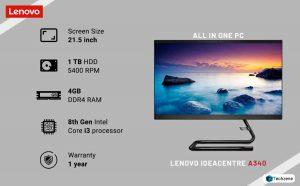 Lenovo Ideacentre A340 8th Gen Intel Core I3 21.5 inch All in One Desktop