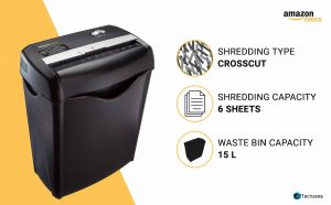 AmazonBasics Cut Paper/CD/DVD/Credit Card Shredder