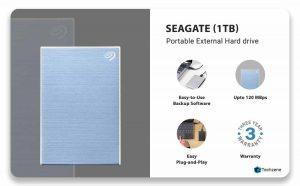 Seagate Backup Plus Slim 1 TB External Hard Drive Portable