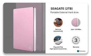 Seagate 2TB Backup Plus Slim (Rose Gold) USB 3.0 External Hard Drive for PC/Mac