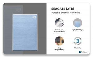 Seagate Backup Plus Slim 2 TB External Hard Drive (Light Blue)